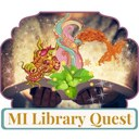 MI Library Quest logo with dragon and phoenix coming out of a book